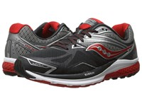 Saucony Ride 9 Grey Charcoal Red Men's Running Shoes Gray