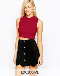 Fashion Union Jersey Rib Roll Neck Top Red