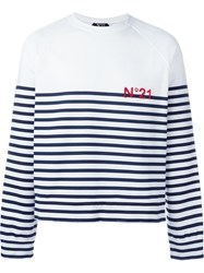 No21 Striped Sweater White