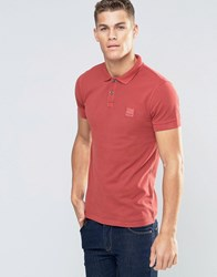 Boss Orange Pascha Slim Logo Polo Washed Pique Red