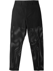 N.21 Perforated Straight Fit Trousers Black