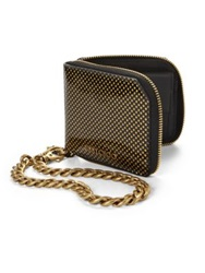 Jimmy Choo Chiltern Patent Polka Dot Chain Wallet Black Gold