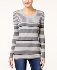 Pink Rose Juniors' Striped Scoop Neck Fine Gauge Sweater Medium Heather Grey Black