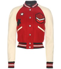 Coach Wool Blend And Leather Bomber Jacket Red
