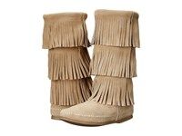 Minnetonka 3 Layer Fringe Boot Stone Suede Women's Boots Gray