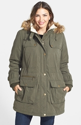 Dkny Faux Fur Trim Down And Feather Parka Plus Size Loden