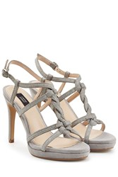 Steffen Schraut Leather T Strap Sandals Grey