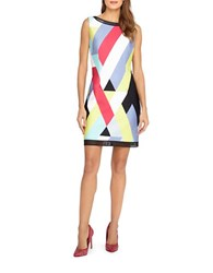 Tahari By Arthur S. Levine Petite Graphic Striped Scuba Dress Peony Perwinkle Lime