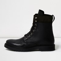 River Island Mens Black Leather Panel Work Boots