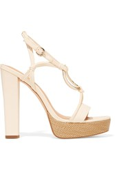 Halston Leona Lizard Effect Leather Platform Sandals White