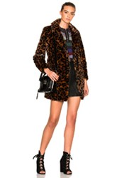 Coach 1941 Wild Beast Faux Fur Coat In Brown Animal Print Brown Animal Print
