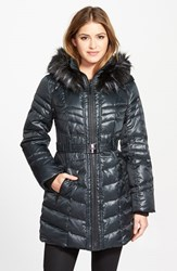 Women's Kensie Belted Down And Feather Fill Coat With Faux Fur Trim Forest