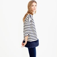 J.Crew Striped Tunic With Faux Fur Hem