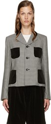 Comme Des Garcons Black And White Houndstooth Blazer