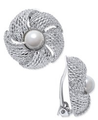 Erwin Pearl Atelier For Charter Club Gold Tone Imitation Pearl Flower Clip On Earrings Only At Macy's Silver