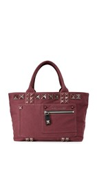 Marc Jacobs Chipped Stud Canvas Tote Rubino