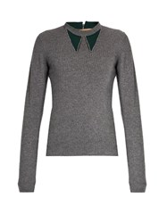 N 21 Contrast Collar Wool And Cashmere Blend Sweater Grey Multi