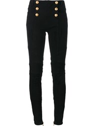Balmain Metallic Button Biker Jeans Black