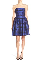 Soloiste Strapless Fit And Flare Dress Royal Black