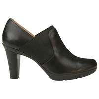 Geox Inspiration High Cone Heel Shoe Boots Black Leather