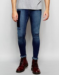 Cheap Monday Jeans Mid Spray Extreme Superstretch Skinny Fit Go Blue Mid Rips And Panel Wash Blue