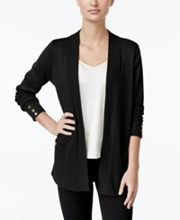 Charter Club Open Front Button Cuff Cardigan Only At Macy's Deep Black