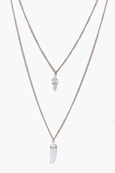 Boohoo Crystal Pendant Layered Necklace Gold