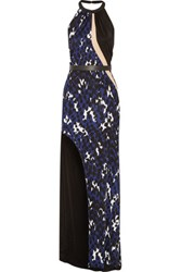 Issa Lacyn Belted Printed Stretch Jersey Halterneck Gown Storm Blue