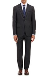 Isaia Men's Striped Super 130S Gregory Two Button Suit Black