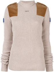 Off White Turtleneck Ribbed Sweater Nude Neutrals