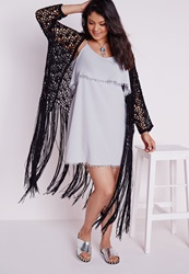 Missguided Plus Size Crochet Long Tassel Cardigan Black Black