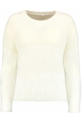 Chloe Textured Knit Angora Blend Sweater White