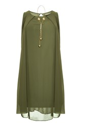 Quiz Khaki Chiffon Necklace Tunic Dress Green