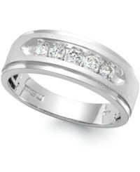 Macy's Men's Five Stone Diamond Ring In 10K White Gold 1 Ct. T.W.