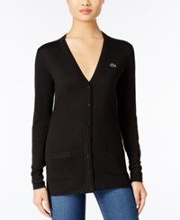 Lacoste V Neck Cardigan Black