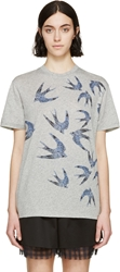Mcq By Alexander Mcqueen Grey And Blue Swallow Sketch T Shirt
