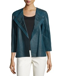Lafayette 148 New York 3 4 Sleeve Leather Topper Mallard