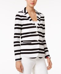 Tommy Hilfiger Striped Two Button Blazer Only At Macy's Bright White