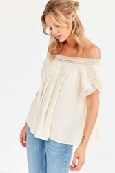 Ecote Holly Crochet Trim Off The Shoulder Top White
