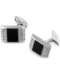 Effy Collection Gento By Effy Onyx 12Mm X 9Mm And Diamond 2 5 Ct. T.W. Cuff Links In Sterling Silver Black