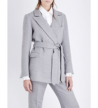Co Belted Wool And Silk Blend Jacket Grey