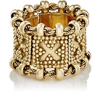 Mahnaz Collection Vintage Women's Square Link And Rope Chain Ring Gold