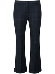 Brunello Cucinelli Cropped Checked Trousers Blue