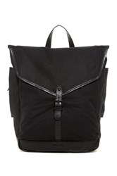 Cole Haan Waxed Canvas And Leather Messenger Backpack Black
