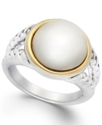 Macy's Cultured Freshwater Pearl Rope Ring In Sterling Silver And 14K Gold 12Mm