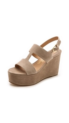 Salvatore Ferragamo Fiamma Wedge Sandals Greige