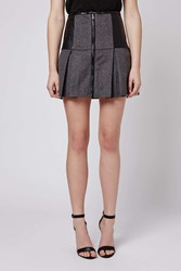 Wool And Faux Leather Flair Skirt By Goldie Black