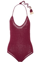 She Made Me Essential Crocheted Cotton Swimsuit Claret
