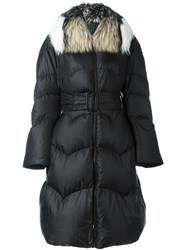 Ermanno Scervino Fur Collar Oversized Coat Black