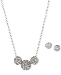 Anne Klein Gold Tone Crystal Fireball Pendant Necklace And Matching Stud Earrings Set